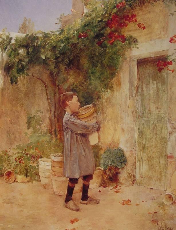 Мальчик с пустым цветочным горшком