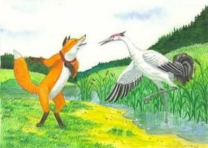 Журавель і лисиця